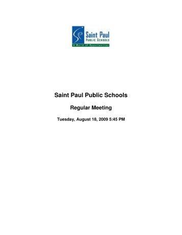 BOE 8/18/09 - The Saint Paul Board of Education - St. Paul Public ...
