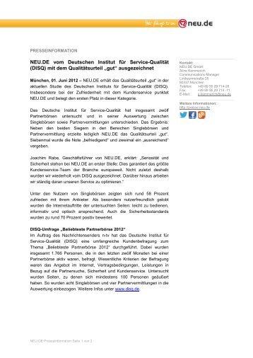 NEU.DE Presseinformation DISQ 2012