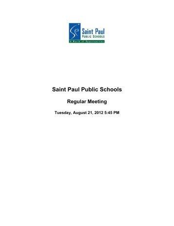 8/21/12 - The Saint Paul Board of Education - St. Paul Public Schools