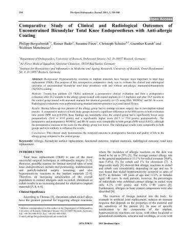 Comparative Study of Clinical and Radiological Outcomes of ...