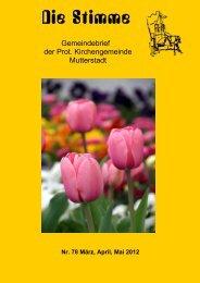 Am : Freitag, den 11.05.2012 Wann - Protestantische ...