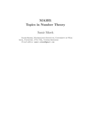 MA3H1 Topics in Number Theory Samir Siksek - University of Warwick