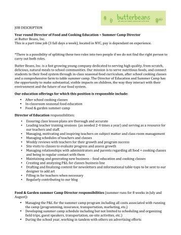 corporate chef job description pdf