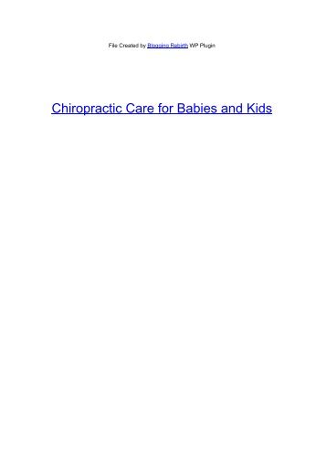 Chiropractic Care for Babies and Kids - Add To Link Articles