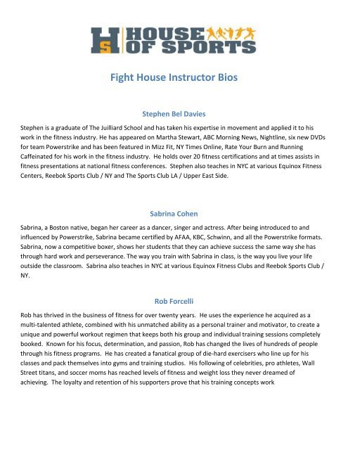 Fight House Instructor Bios - House Of Sports