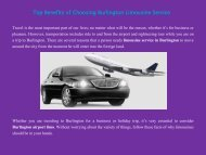 Top Benefits of Choosing Burlington Limousine Service