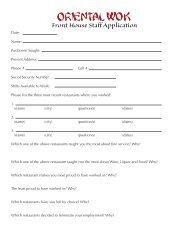 Front House Staff Application - Oriental Wok