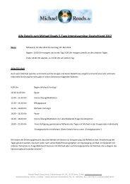 Details zum Michael Roads 5-Tage Intensivseminar Deutschland 2012