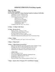 AERONET/PHOTONS Workshop Agenda May 10, 2004