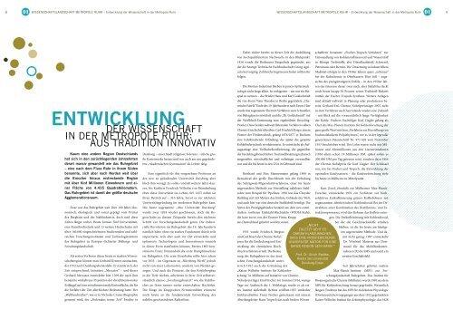 ENTWICKLUNG - Wissenschaftsatlas- Metropole Ruhr