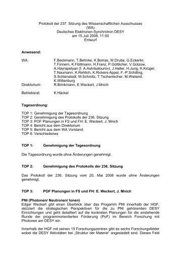 Protokoll der 237ten Sitzung - Wissenschaftlicher Ausschuss - Desy