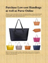 Purchase Low-cost Handbags as well as Purse Online