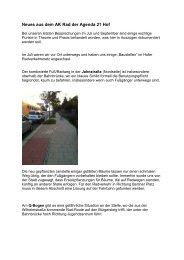 Neues aus dem AK Rad der Agenda 21 Hof - ADFC-Hof