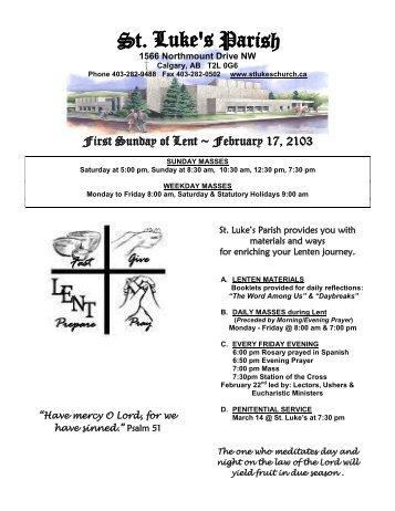 First Sunday of Lent ~ February 17, 2103 - St. Luke's Parish