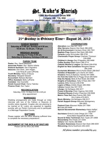 21st Sunday in Ordinary Time~ August 26, 2012 - St. Luke's Parish