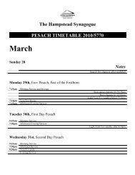 The Hampstead Synagogue PESACH TIMETABLE 2010/5770 April ...