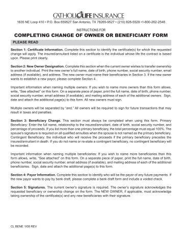 Term Owner and Policy Change Form - Fidelity