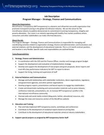 Program Manager Job Description The Sylvia   Good Food Jobs.