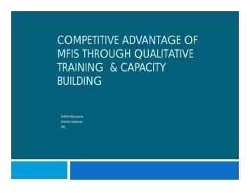 competitive advantage of mfis through qualitative training & capacity ...