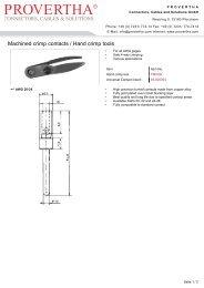 Machined crimp contacts / Hand crimp tools - PROVERTHA ...