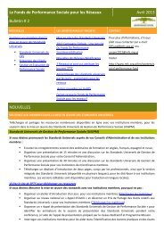 Le Fonds de Performance Sociale pour les Réseaux Avril 2013 ...