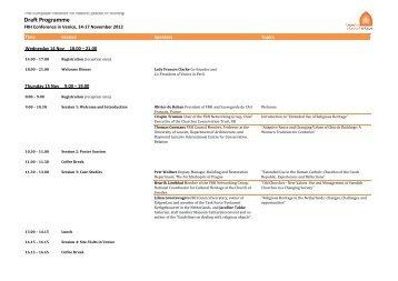 Draft Programme - Future for Religious Heritage (FRH)