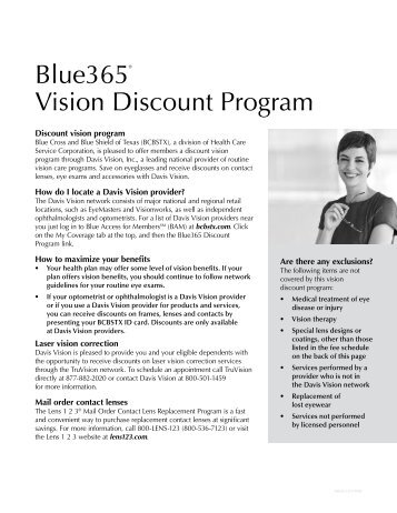 Blue365® Vision Discount Program - Gillespie County, Texas