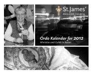 Ordo Kalendar for 2012 - St. James' Anglican Church