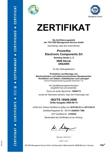 ZERTIFIKAT - PROVERTHA Connectors, Cables & Solutions GmbH