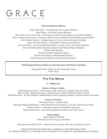 Los Feliz Sample Prix Fixe Menus Family style prix fixe menu
