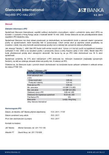 Glencore International - ATLANTIK finanční trhy, a.s.