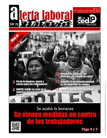 CEDLA Boletín Alerta Laboral # 75 Se vienen medidas en contra de los trabajadores