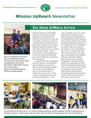 Mission UpReach Newsletter - May 2015