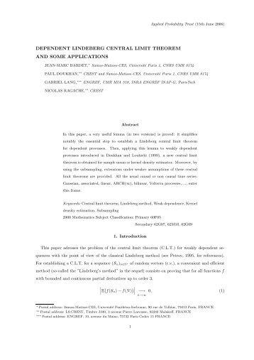 dependent lindeberg central limit theorem and ... - samos-matisse
