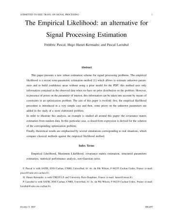 The Empirical Likelihood: an alternative for Signal ... - ResearchGate