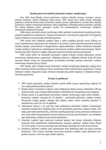 1 Šiaulių miesto savivaldyb÷s požeminio vandens monitoringas Nuo ...