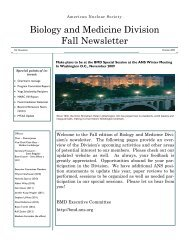 Biology and Medicine Division Fall Newsletter