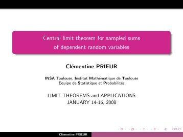 Central limit theorem for sampled sums of dependent random ...