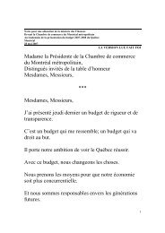 Madame la Présidente de la Chambre de commerce du Montréal ...