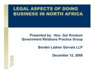 LEGAL ASPECTS OF DOING BUSINESS IN NORTH AFRICA
