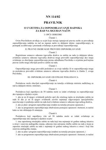 Pravilnik o uvjetima za osposobljavanje radnika za rad na siguran ...