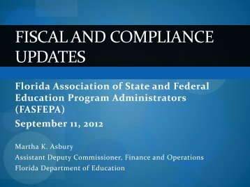 Fiscal and Compliance - Martha Asbury, FDOE - ectac