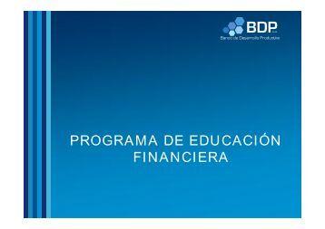 Educación Financiera - Banco de Desarrollo Productivo