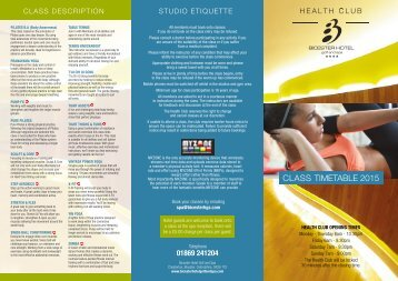 Download Our Studio Classes Timetable Here - Bicester Hotel, Golf ...