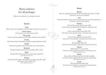 wedding menus - Bicester Hotel, Golf and Spa