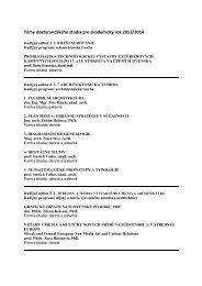 Témy doktorandského štúdia pre akademický rok 2013/2014