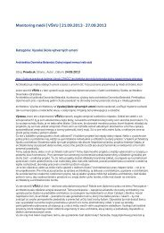 Monitoring médií 21. – 27. 9. 2013 - Vysoká škola výtvarných umení