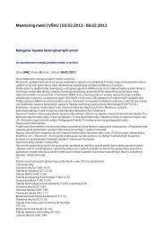 Monitoring médií 2. – 8. 2. 2013 - Vysoká škola výtvarných umení