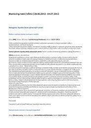 Monitoring médií 29. 6. – 4. 7. 2013 - Vysoká škola výtvarných umení