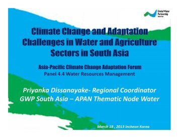 Priyanka Dissanayake- Regional Coordinator GWP South Asia – APAN ...
